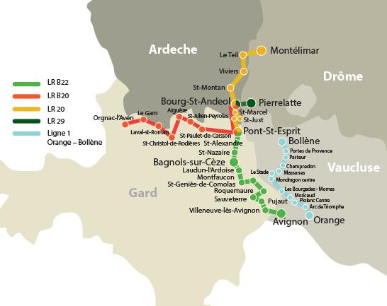 lignes bus Gard Drome Vaucluse